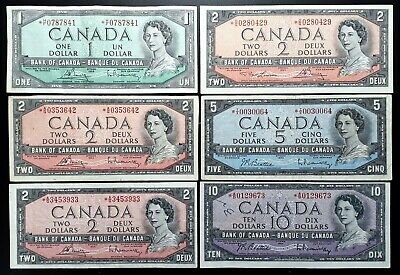 1954 Bank of Canada Lot of 6 Mixed Modified Portrait Rare Replacement Note