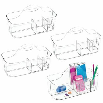 mDesign Plastic Office Storage Organizer Caddy Tote, Large, 4 Pack - Clear
