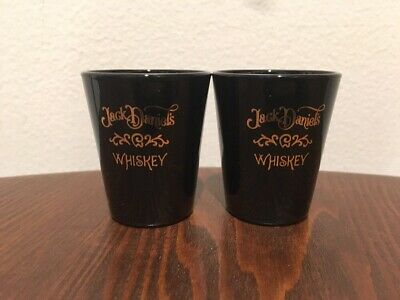 Pair Of Jack Daniels Whiskey Black Shot Glasses With Gold Lettering