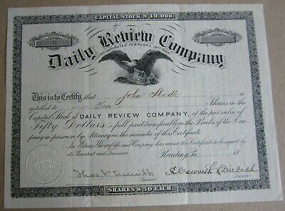 1896 DAILY REVIEW COMPANY Stock Certificate Reading, PA