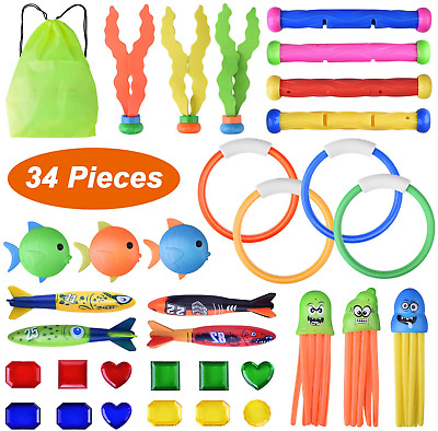 Details about  /Faburo 34pcs Swimming Pool Toys Underwater Diving Game Kit Treasures Gift Toys