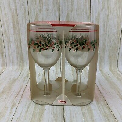 Bow Stem,Gold Rim Glass Water//Wine Goblets 6 /& 3//4 in Details about  /4 Holly /& Berry