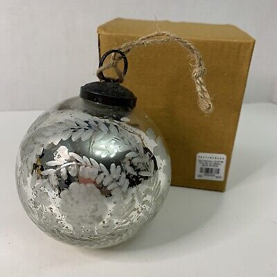 Pottery Barn 2018 Engraved Reindeer Music Box Ornament Silver NEW