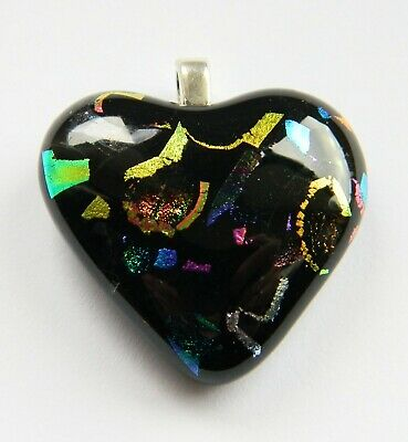 Purple Pattern Genuine Hand Crafted  Dichroic Glass Chunky Pendant