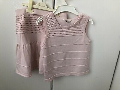 New Tagged River Island Mini Girls Pink Frill Collar Sleeveless Top Age 6-9 mnth