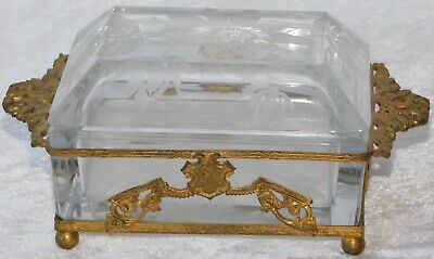 Antique French Etched Crystal Jewelry Box