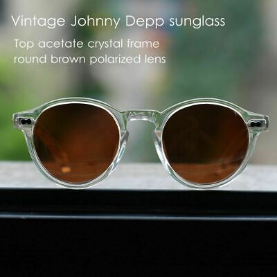Johnny Depp polarized sunglasses brown lens mens solid acetate clear glasses