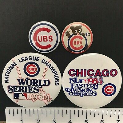 Chicago Cubs MLB Lot of 4 (1960s-1980s) Vintage Baseball Pin-Back Buttons