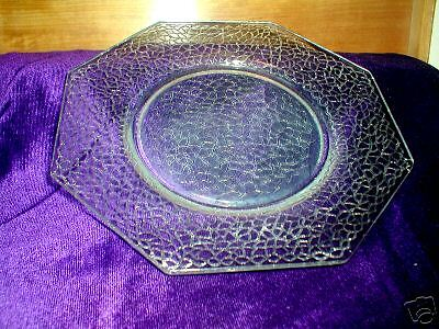 L. E. Smith, Crackle, #100, Luncheon Plate, Crystal