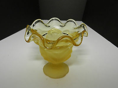 LG Wright Cabbage Leaf Frosted Amber Ruffled Bowl EAPG
