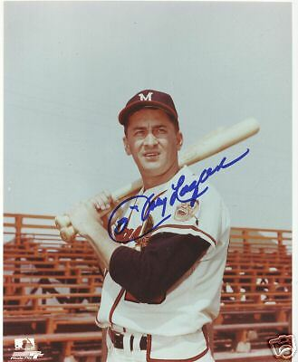 Johnny Logan Milwaukee Braves Signed 8X10 Photo W/coa