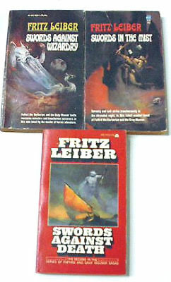 Lot of 3 Vintage Fritz Leiber Sci-Fi PBs- Fafard/Mauser
