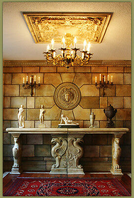 Griffin Console Table Ends Stone marble travertine Fireplace mantle home decor