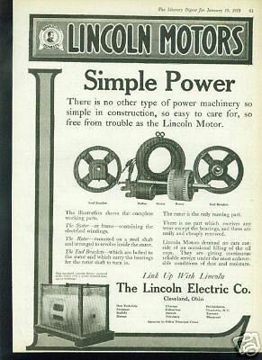 1918 Lincoln Motors/Electric Co. SIMPLE POWER Ad