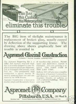 1918 Aspromet Glazing Construction Co. Pittsburgh Ad