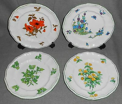 Set (4) Bone China CROWN STAFFORDSHIRE Floral Patterns SALAD PLATES England