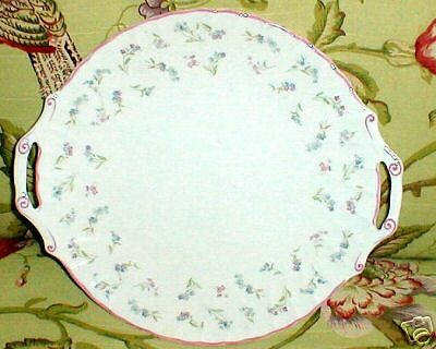 Royal Worcester Forget Me Not Tab Handled Cake Plate