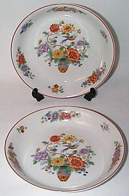 Vintage KPM All Over Pattern (2) BOWLS Urn/Bird/Floral
