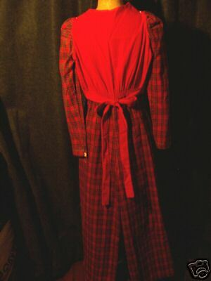 "Vintage Betsey Johnson "" KIDS"" red plaid jumpsuit"