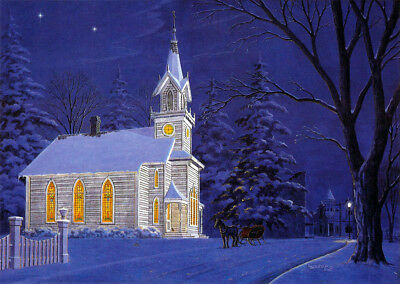 Silent Night Christmas Holiday Church Chapel Snow Sleigh Art SIGNED by Souders