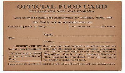 1918 WWI Tulare Co CA Official Food Card