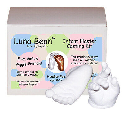 Luna Bean INFANT Plaster Casting Baby Foot Prints Hands Mold Kit - CLEAR MATTE