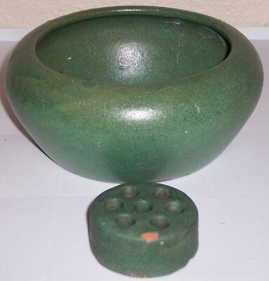 Bauer Pottery Red Clay Matte Green Art Bowl W/frog!
