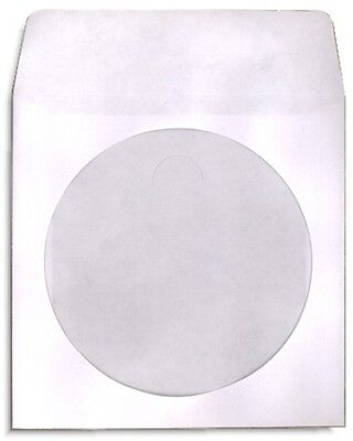 1000-Pak White Paper CD SLEEVES with Window & Flap