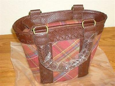 Longaberger NEW Toboso Plaid Small Booking Tote Purse