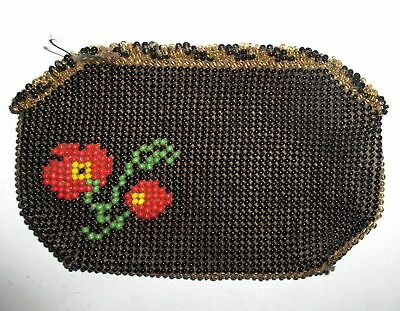 WW1 ANTIQUE POW or TRENCH ART HAND MADE BEADWORK GLASS BEADS BEADED LADY'S PURSE