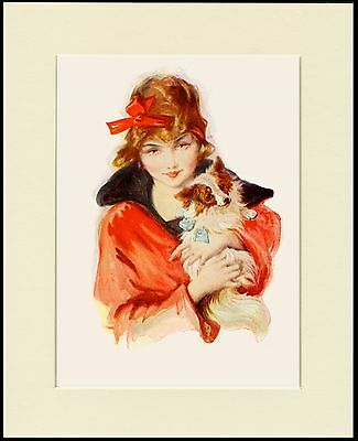Papillon Lady In Red Lovely Little Dog Print Mounted Ready To Frame