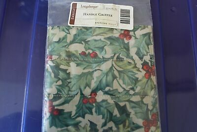 Longaberger Christmas American Holly Fabric Button Handle Gripper - NEW