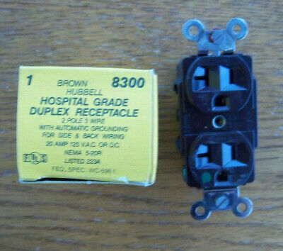 NEW Hubbell RECEPTACLE 20 AMP 125 V HBL8300 5-20R brown