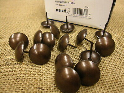 50 LARGE 19mm UPHOLSTERY NAILS - Antique on steel furniture wood studs