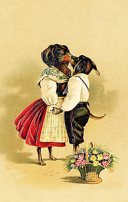 Dachshund Dogs Dance with Me My Darling Postcard Print