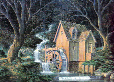 Grist Mill Waterwheel Halloween Autumn Cat Matted Art HAND SIGNED by Souders