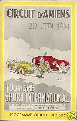 Programme officiel Grand Prix Automobile   circuit d'AMIENS  20 juin 1954