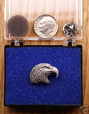 Empire Pewter Eagle Head Single Posted Pin / Tie Tack