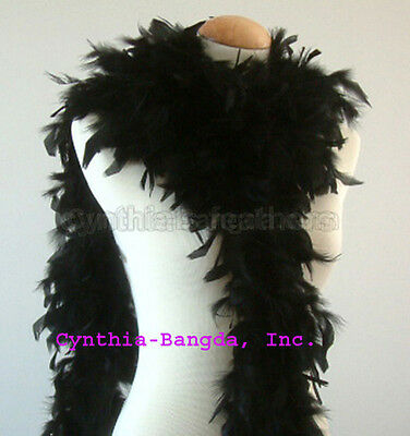 Black 65 Grams Chandelle Feather Boa   Dance Wedding Party Halloween Costume