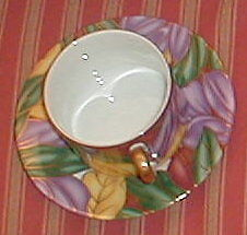 FITZ & FLOYD CLOISONNE TROPICANA CUP AND SAUCER SET