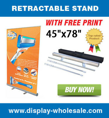 "47"" Wide Retractable Roll Up Banner Stand + Free Vinyl Print for Tradeshows"