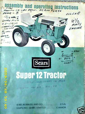 917 25311 SEARS SUBURBAN SS12 Tractor- Owners Manual on CD