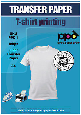 PPD A4 40 x T Shirt Transfers Iron On Paper + FREE T-Shirt Gift