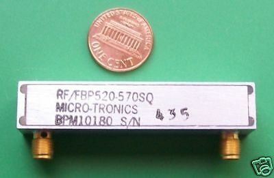 RF microwave bandpass filter, 545 MHz / 80 MHz, data