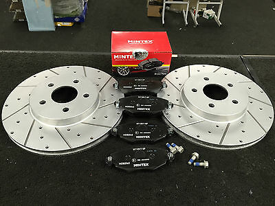 Ford Mondeo Estate Mk3 2000-07 Front Drilled Grooved Brake Discs Mintex Pads