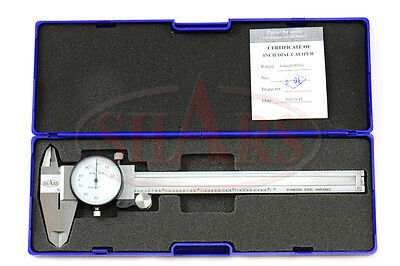 """Shars 0- 6"""" Stainless 4 Way Dial Caliper .001"""" Shock Proof New"""