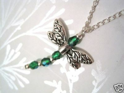 *GREEN DRAGONFLY* Quality Czech Glass Beaded Necklace
