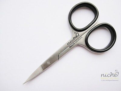 SUPER SHARP Stainless Steel STRAIGHT Edge NAIL SCISSORS with BLACK RUBBER GRIPS