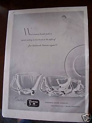 1952 Antique Fostoria Contour Glassware WV Glass Ad