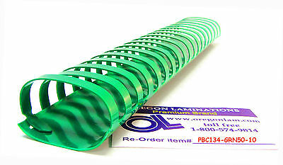 Plastic Binding Comb Spines 1-3/4-inch (44mm) 19 Ring [case of 500] -Kelly Green